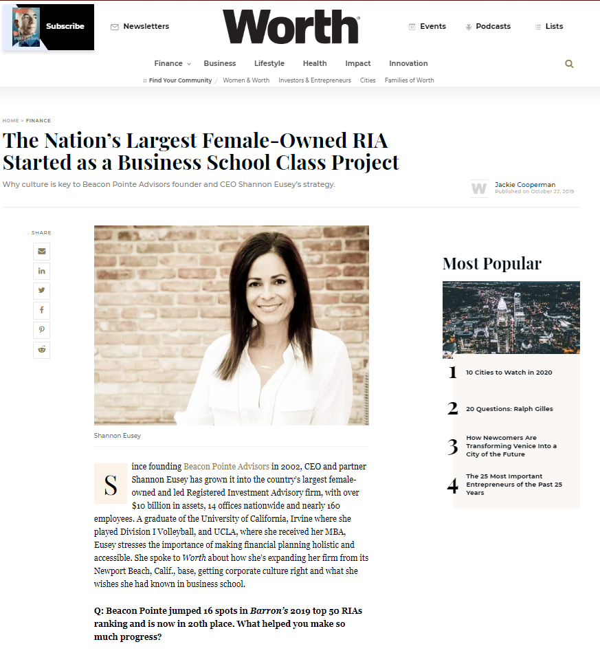 Worth Magazine Feature: Female-Owned RIA Started as Biz School Class Project